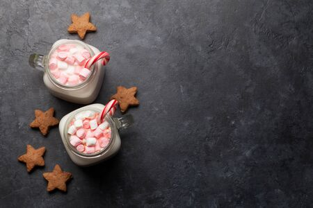 Traditional christmas cocktail with marshmallow.
