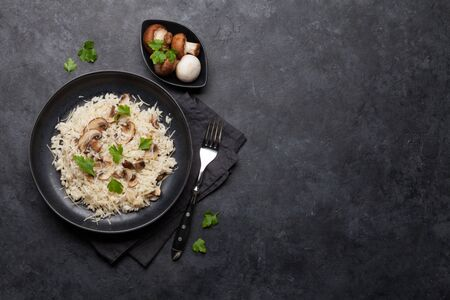 Delicious mushrooms risotto dressed with parmesan cheese and parsley. Top view with copy space for your text Stock Photo
