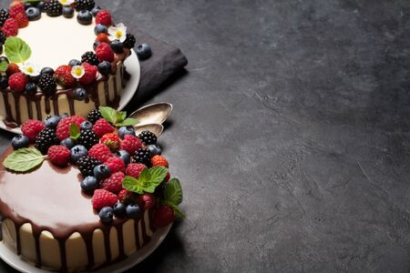 Chocolate cake and cheesecake with berries. On stone table with copy space