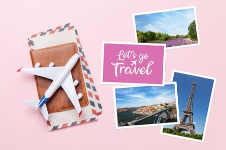 Travel concept with photos, airplane toy and passport. Top view flat lay with copy space