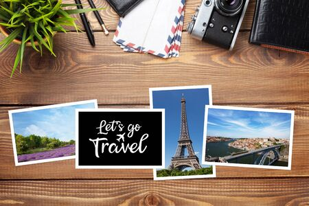 Travel concept with photos, camera and passport. Top view flat lay with copy space