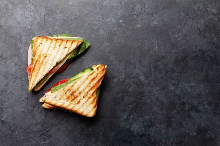 Club sandwich. Fast food take away. Top view with copy space
