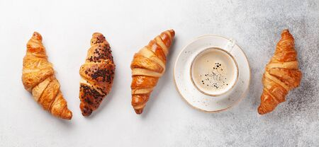 Coffee and croissants. Breakfast meal. Top view flat lay