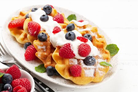 Delicious belgian waffles with ice cream and summer berries. With copy space