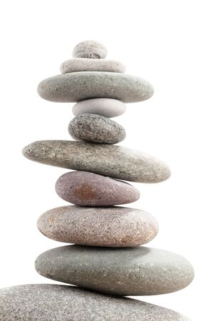 Pyramid of sea pebbles. Isolated on white background. Life balance and harmony concept Standard-Bild