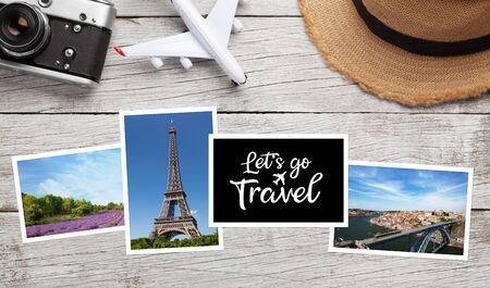 Travel concept with vacation photos, airplane toy, camera and sun hat on wooden table. Top view flat lay with copy space Stock fotó
