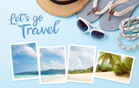 Let's go travel concept card. Summer vacation items, accessories and holiday photos. Flip flops, sunglasses and sun hat on blue background. Top view flat lay 写真素材