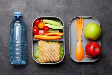 Healthy lunch box with sandwich and vegetables on stone table. Top view. Flat lay