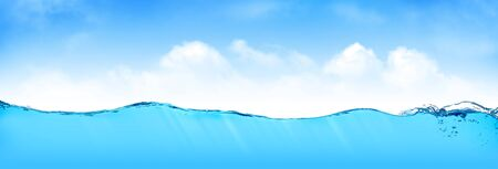 Summer tropical sea landscape with underwater space and sky with clouds. Wide backdrop 写真素材