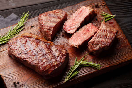 Grilled beef steak with spices and herbs