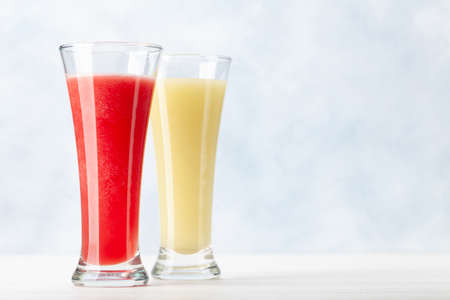 Fresh and juicy watermelon and melon smoothie. With copy space