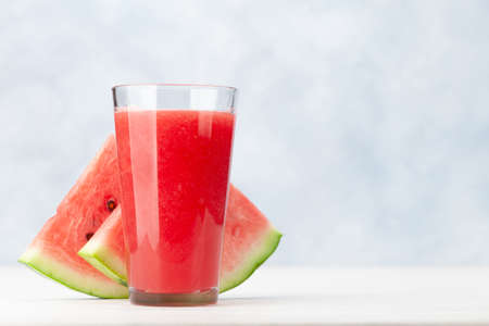 Fresh and juicy watermelon smoothie. With copy space