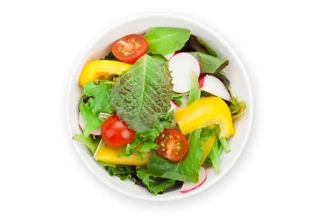 Fresh healthy salad bowl. Isolated on white background. Top view flat lay Фото со стока