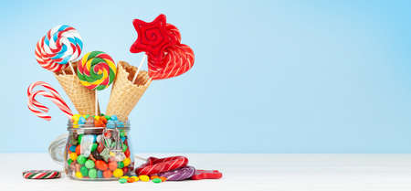 Various candy sweets and lollipop. With copy space Standard-Bild