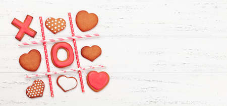 Valentines day concept greeting card with gingerbread cookies. Top view flat lay with copy space Imagens - 162298822