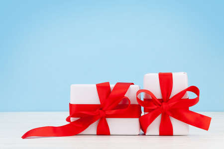 Valentines day or Christmas gift boxes on wooden table. With copy space Imagens - 162298951