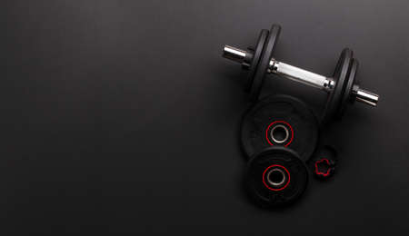 Dumbbells. Sport, fitness and healthy lifestyle background. Top view flat lay with copy space 免版税图像