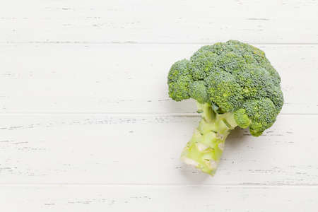 Broccoli. Healthy food and weigh loss concept. Diet and fitness. Top view flat lay with copy space Banque d'images