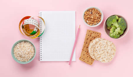 Healthy food and weigh loss concept. Diet and fitness. Top view flat lay with copy space