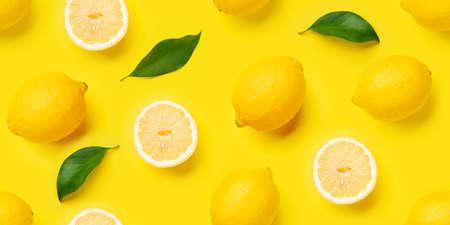 Lemon citrus seamless backdrop texture. Flat lay background