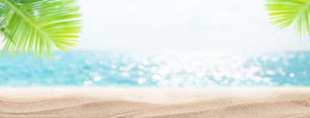 Summer sea beach with hot sand, palm leaves and sunny bokeh with copy space. Travel vacation concept