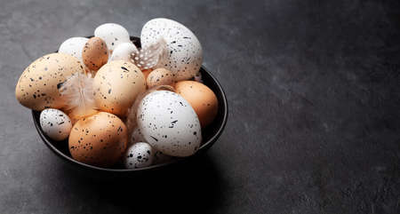 Easter eggs in bowl. Chicken and quail eggs. Spring greeting card with copy space Фото со стока