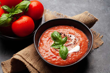 Homemade cooking cold gazpacho soup with fresh garden tomatoes Фото со стока