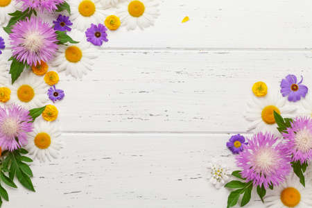 Various colorful garden flowers over wooden background. Greeting card template. Top view flat lay with copy space
