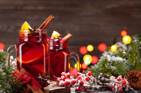 Christmas greeting card with mulled wine and xmas tree. With space for your greetings Standard-Bild