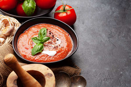 Homemade cooking cold gazpacho soup with fresh garden tomatoes. With copy space