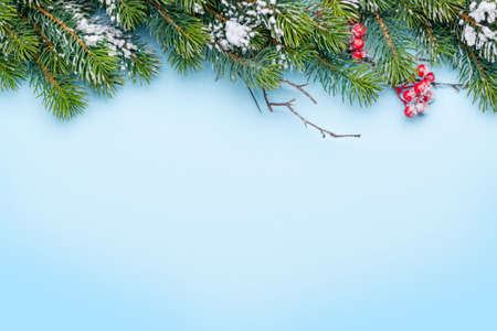 Christmas greeting card with fir tree covered by snow over blue backddrop. Top view flat lay with copy space for your xmas greetings Standard-Bild