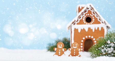 Christmas greeting card with gingerbread house and fir tree with copy space