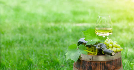 Wine bottle, glass with white wine and grape on old barrel. With copy space