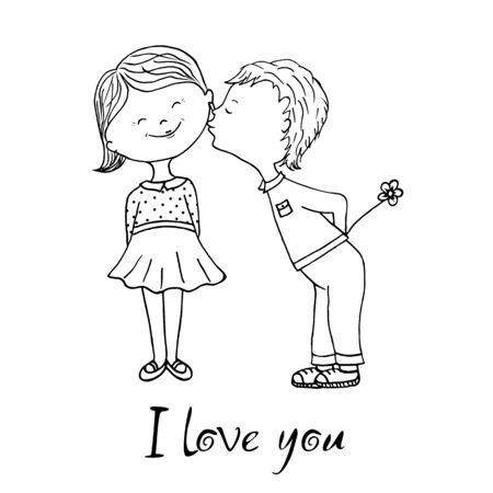 Un niño y una niña están a punto de besarse, en celebración del día de San Valentín