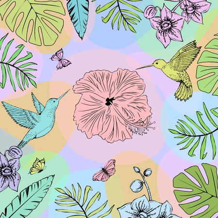 Hummingbirds and tropical leaves sketch. Bright colours. Illustration