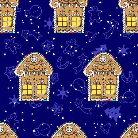 Christmas gingerbread cookies seamless, houses and snowflakes. Hand drawn cartoon background.