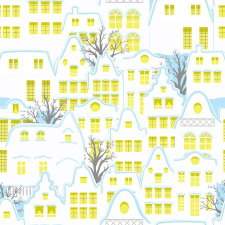 Seamless pattern with decorative colorful houses in winter time. Christmas and New Year holidays. Creative vector background for fabric, textile, nursery wallpaper.