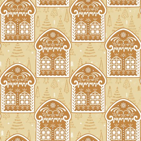 Gingerbread houses seamless pattern. Vector hand drawn background for design and decoration textile, covers, package, wrapping paper.