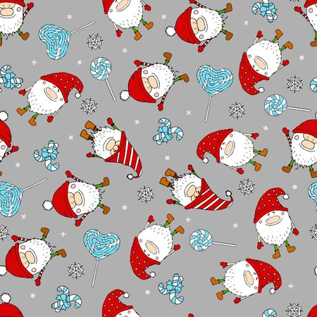 Seamless funny pattern with doodle dwarf and sweet candy. Cute gnomes illustration in sketch style. Doodle dwarf. Ideal for fabric, wallpaper, wrapping paper, textile, bedding, t-shirt print. Standard-Bild - 138351584