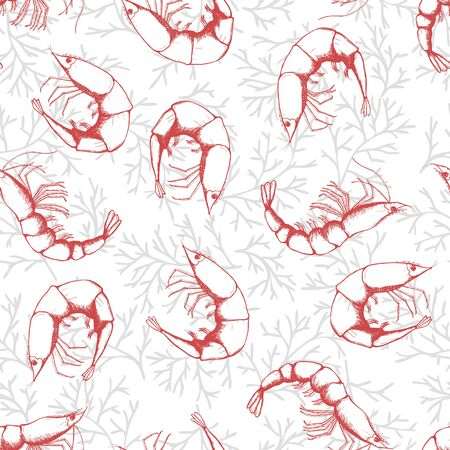 Hand drawn seafood seamless pattern. Shrimp background sketch style prawn. Vector illustration.