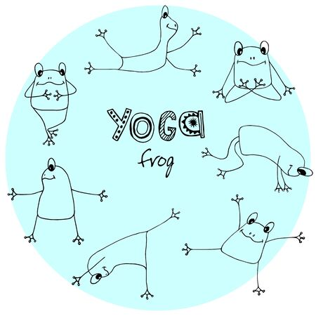Collection yoga asana frog, hand sketch for textile, wrapping, wallpaper.