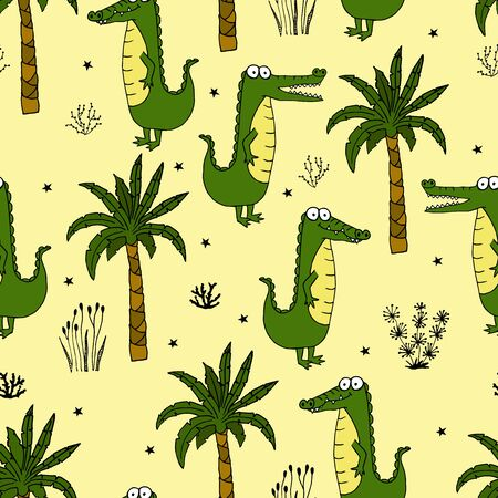 Seamless pattern with a cute green crocodile with palms and grasses. Vector illustration for printing on fabric, packaging paper, Wallpaper. Cute children's background.