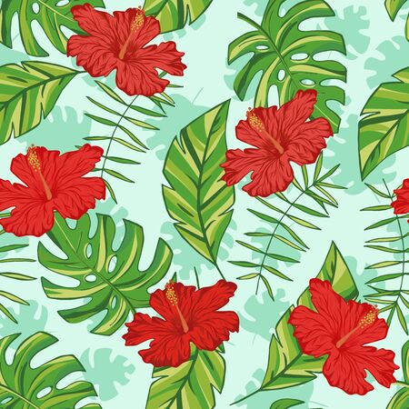 Vector hand drawn tropical leaves snd flowers. Tropical collection. Template design for fabric, envelope, valentine, for party, holiday decor. Ilustración de vector