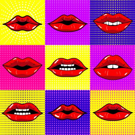 Hand drawn vector illustrations - Mouth with teeth. Female lips set on bright background. Pop-art style.