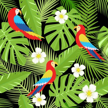Floral background with tropical flowers, leaves and parrots. Vector seamless pattern for stylish fabric design, paper, web. Vettoriali