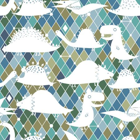 Baby seamless pattern with hand drawn dino on romb. Creative vector childish background for fabric, textile, nursery wallpaper.