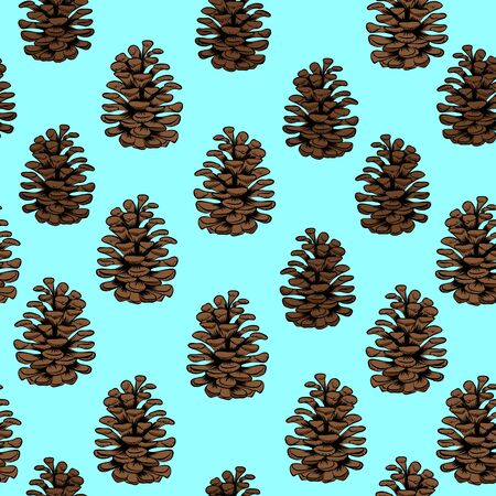 Vector seamless pattern with pine cones silhouette. Cones decoration isolated on blue background. Realistic decorative background for fabric.