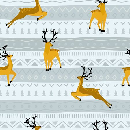 Seamless funny pattern with deer. Cartoon animals background. Ideal for fabric, wallpaper, wrapping paper, textile, bedding, t-shirt print.