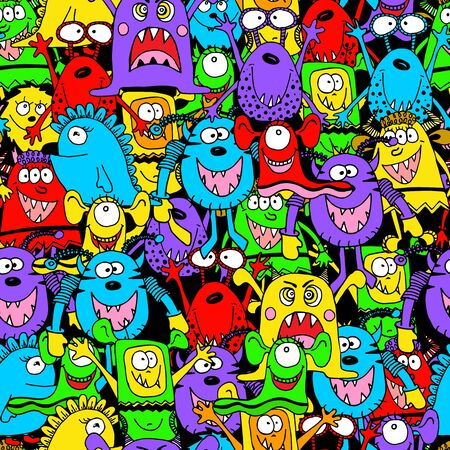 Seamless pattern cute funny monsters with big eyes . Kids background for textile, wallpapers and paper. Colourful colours.