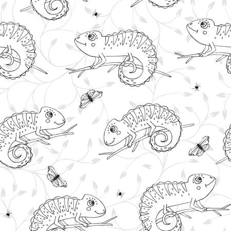 Seamless pattern with cute doodle chameleons with insects on white background. Reptile pattern with doodle chameleons. Ideal print for kids clothes and case phone.